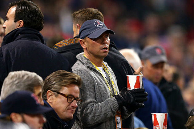 Kenny returned to Fenway this fall to see the Sox win. That's MSNBC's Joe Scarborough next to him