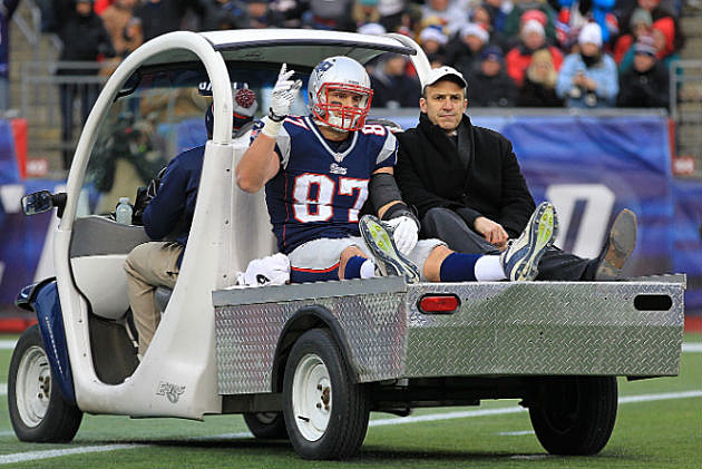 Gronkowski leaving field on a cart