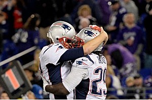 Brady and Blount embrace