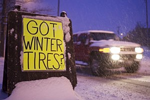 "Sign that says ""Got Winter Tires"""